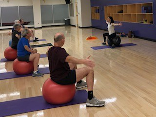 Exercise class using balls